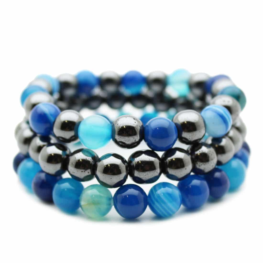 lot de 3 bracelets agate bleu et h matite perles 8 mm 3st08 agbhem fityo. Black Bedroom Furniture Sets. Home Design Ideas